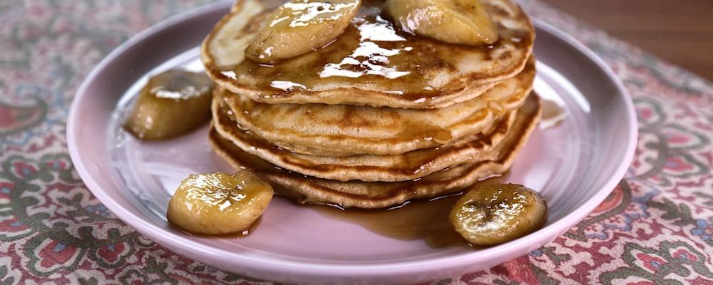 Brown Sugar Pancakes with Bananas Flambe Recipe by Mario Batali - The ...