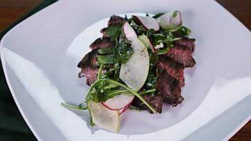 Marinated Skirt Steak with Arugula Radish Salad