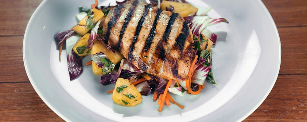 Chicken Paillard with Grilled Pineapple Salad Recipe by Daphne Oz ...