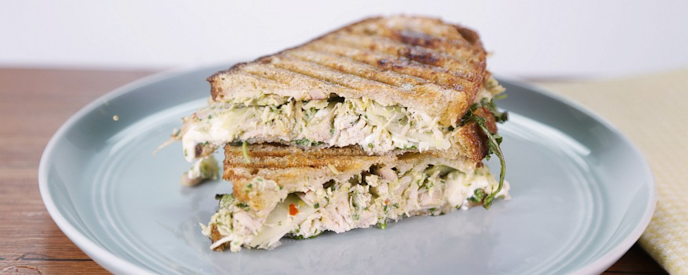 Leftover Chicken Pesto Salad Panini Recipe by Carla Hall - The Chew