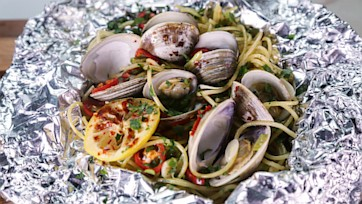 Spaghetti and Clams Foil Pack