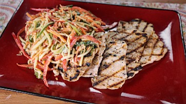 Grilled Chicken with Crunchy Peanut Slaw