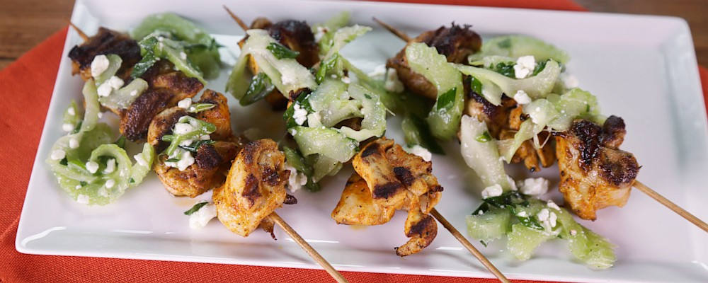 Buffalo Chicken Kebabs with Celery Blue Cheese Salad Recipe by Michael ...