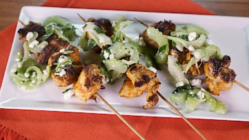 Buffalo Chicken Kebabs with Celery Blue Cheese Salad