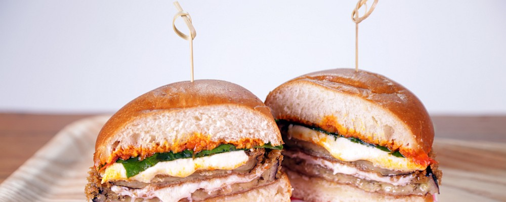 Fried Eggplant Sandwich with Harissa Recipe by Michael Symon - The ...