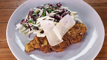 Veal Milanese with a Shaved Vegetable Salad