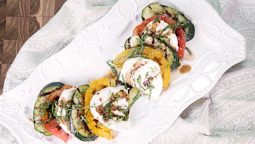 Grilled Zucchini with Tomatoes and Mozzarella
