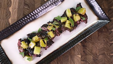 Spicy Grilled Skirt Steak with Grilled Honeydew Salad