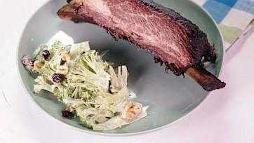 Beef Ribs with Shaved Broccoli Salad