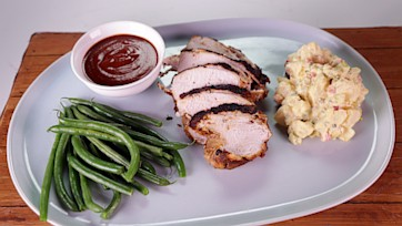 BBQ-Brined Spiced Turkey Breast with Potato Salad