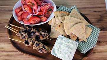 Chicken Kebabs with Tzatziki Sauce and Flatbread