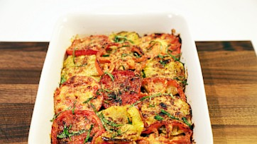 Tomato, Zucchini, Onion and Parm Bake