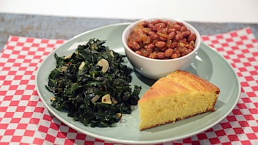 Spicy Southern Greens & Beans with Cornbread