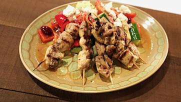 Chicken Kabobs with Greek Village Salad