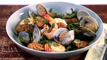 Steamed Gulf Shrimp with Clams and Sausage in a Green Chile-Basil Brodetto