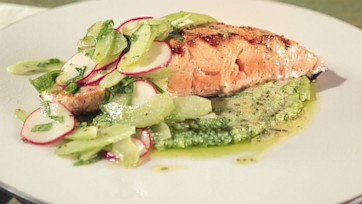 King Salmon with Fava, Radishes, and Lemon Celery Citronette