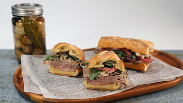 Roast Beef Sammie with Pickled Mushroom Salad