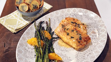 Seared Halibut with Citrus Beurre Blanc & Sesame Roasted Asparagus