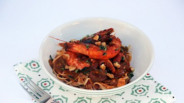 Shrimp Fra Diavolo over Linguine