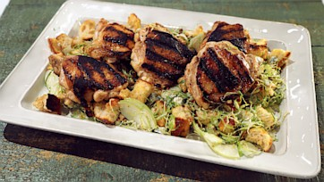 Grilled Chicken Thighs with an Autumn Panzanella Salad