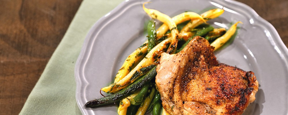 Charred Chicken Thighs with String Bean Salad Recipe by Mario Batali ...
