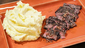 Grilled Skirt Steak with Black Truffle Vinaigrette and Mashed Potatoes