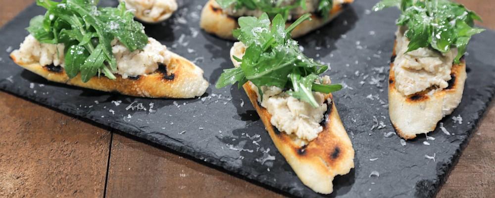 White Bean Crostini with Arugula Recipe by Michael Symon - The Chew