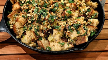 Stuffing Cake with Walnut Gremolata