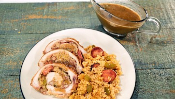 New Orleans Red Beans & Rice Stuffed Turkey with Sazerac Gravy