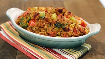 Cornbread Stuffing with Jalapeno and Andouille