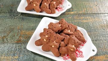 Teddy Bear Chocolate Shortbread Cookies
