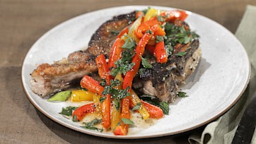 Smothered Pork Chops with Sweet & Sour Peppers