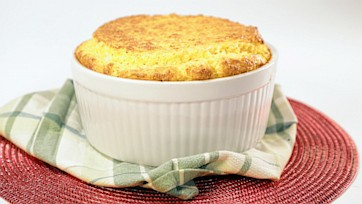 Cheddar Grits Souffle with Tomato Gravy