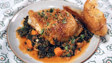 Braised Chicken Thighs with Spicy Kale