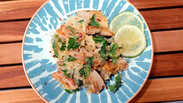 Pan Roasted Chicken Thighs with Kohlrabi