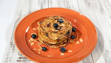 Greek Yogurt Pancakes with Blueberries and Honey