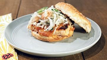 BBQ Salmon Sandwich with Jalapeno Slaw