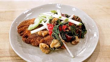 Chicken Schnitzel with Sauteed Swiss Chard & Apple Celery Salad