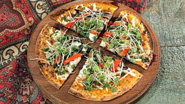 Portobello, Roasted Peppers & Microgreens Pizza