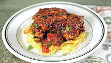 Grilled Chicken Cacciatore with Spaghetti Squash