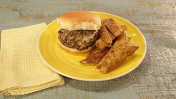 Swiss Horseradish Mushroom Burger with Roasted Potato Wedges