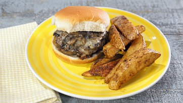 Swiss Horseradish Mushroom Burger with Roasted Potato Wedges