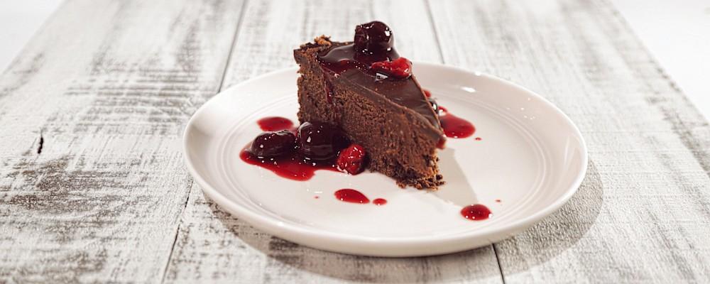 Dark Chocolate Cheesecake with Bourbon Cherries Recipe by Michael ...