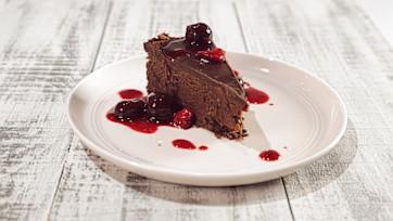 Dark Chocolate Cheesecake with Bourbon Cherries