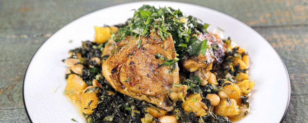 Braised Chicken Thighs with Kale and Butternut Squash Recipe by Daphne ...