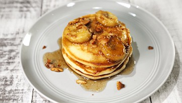 Granola Pancakes with Caramelized Banana Syrup