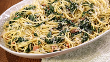 Spaghetti with Collards, Garlic & Pancetta