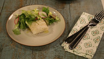 Poached Cod with a Crisp Green Salad