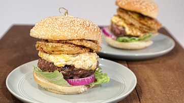 Deep South Burgers with Pimiento & Cheese & Fried Green Tomatoes