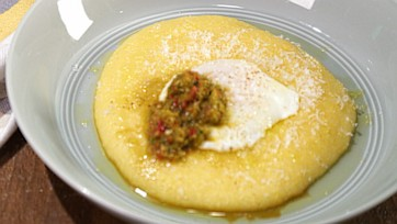 Poached Eggs with Soft Parmesan Polenta